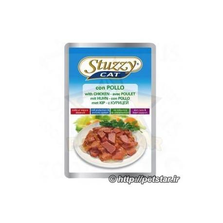 غذای کنسرو گربه ساندیسی گوشت مرغ ژلاتینی محصول stuzzy Cat ایتالیا 100 گرمی